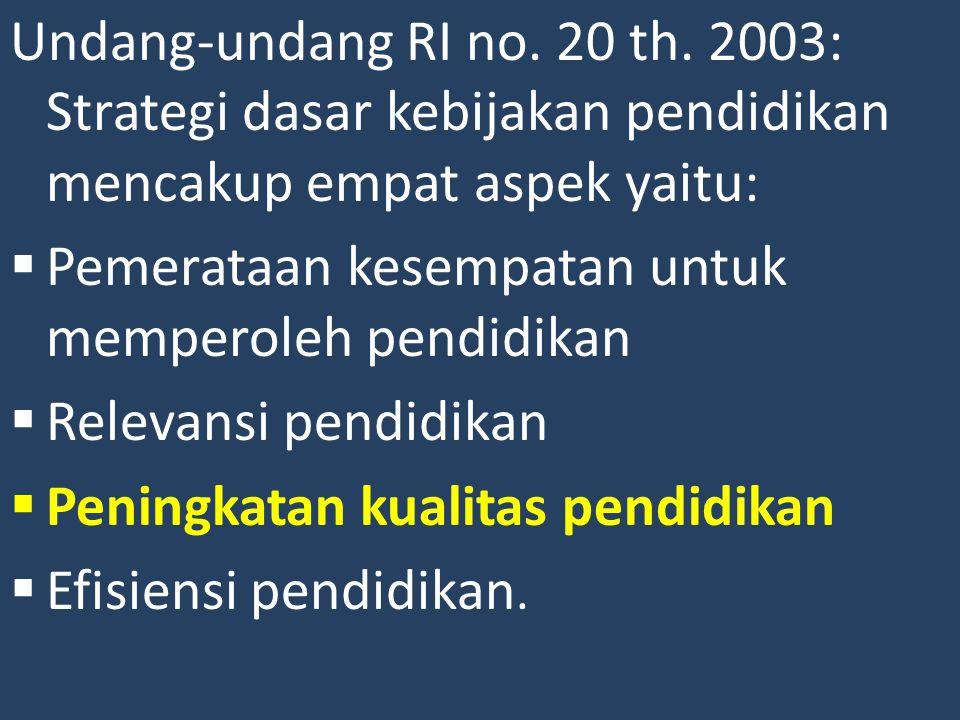 Undang-undang RI no. 20 th. 2003: Strategi dasar kebijakan pendidikan mencakup empat aspek yaitu: