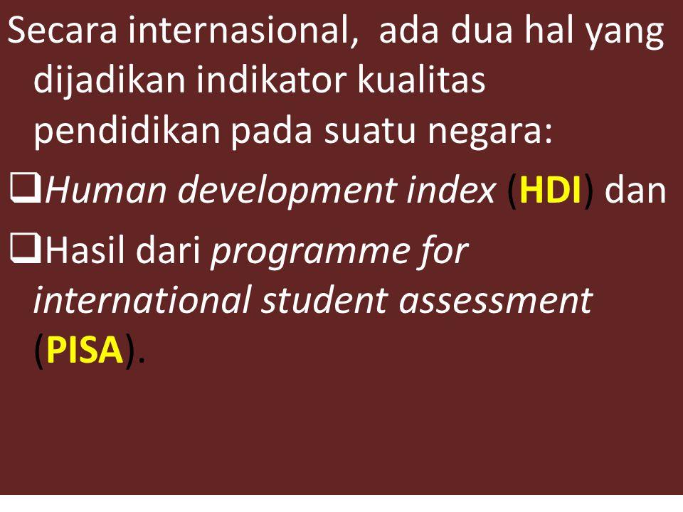Secara internasional, ada dua hal yang dijadikan indikator kualitas pendidikan pada suatu negara: