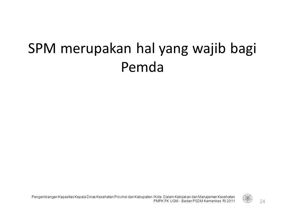 SPM merupakan hal yang wajib bagi Pemda