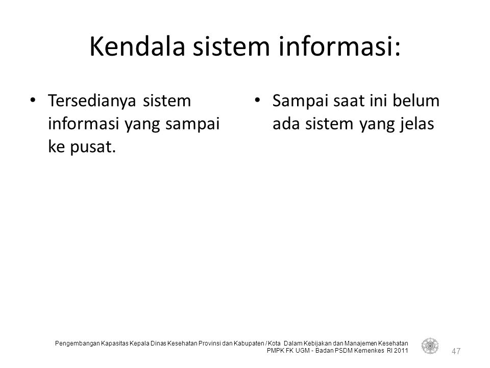 Kendala sistem informasi: