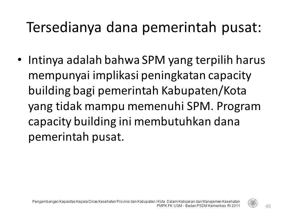 Tersedianya dana pemerintah pusat: