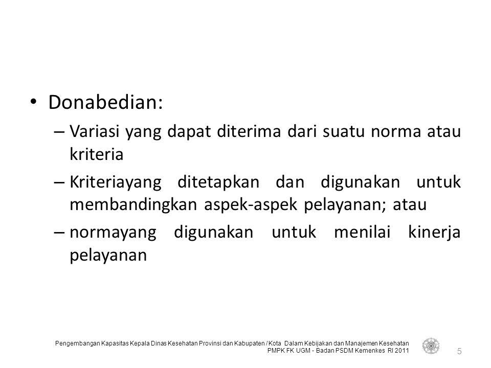 Donabedian: Variasi yang dapat diterima dari suatu norma atau kriteria