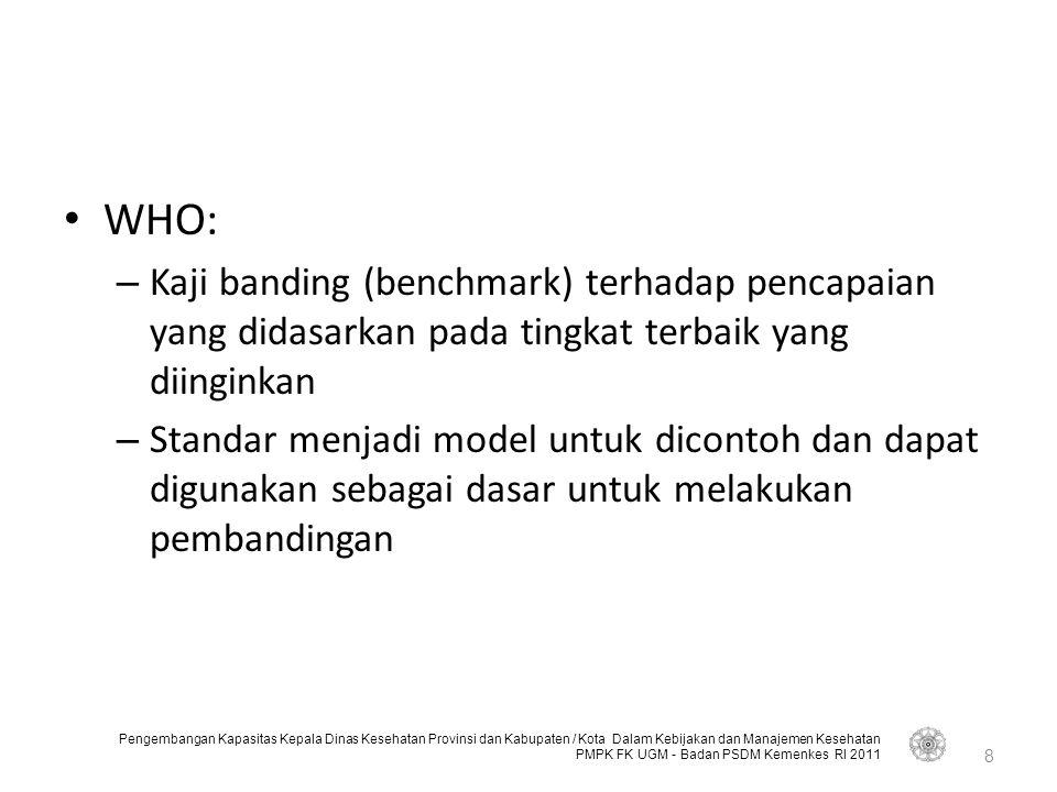 WHO: Kaji banding (benchmark) terhadap pencapaian yang didasarkan pada tingkat terbaik yang diinginkan.