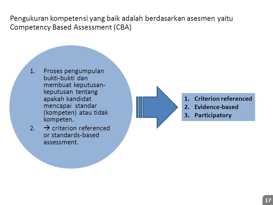 Pengukuran kompetensi yang baik adalah berdasarkan asesmen yaitu Competency Based Assessment (CBA)