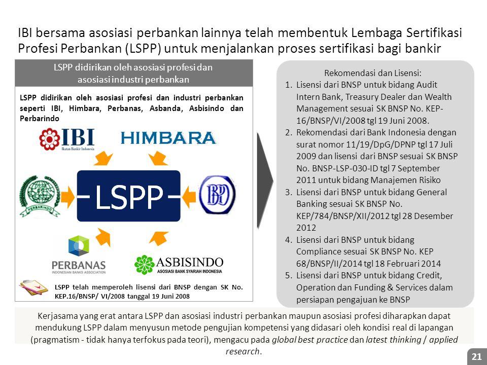 IBI bersama asosiasi perbankan lainnya telah membentuk Lembaga Sertifikasi Profesi Perbankan (LSPP) untuk menjalankan proses sertifikasi bagi bankir