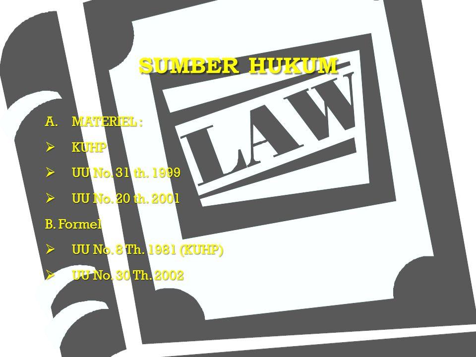 SUMBER HUKUM MATERIEL : KUHP UU No. 31 th. 1999 UU No. 20 th. 2001