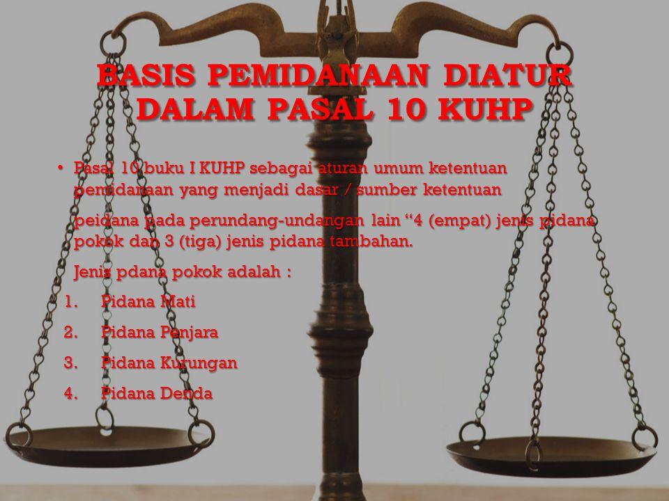 BASIS PEMIDANAAN DIATUR DALAM PASAL 10 KUHP