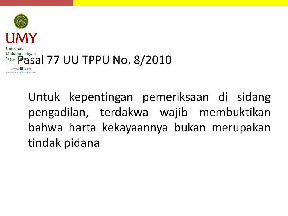 Pasal 77 UU TPPU No. 8/2010