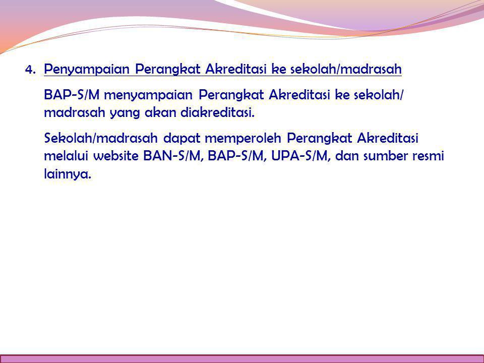4. Penyampaian Perangkat Akreditasi ke sekolah/madrasah