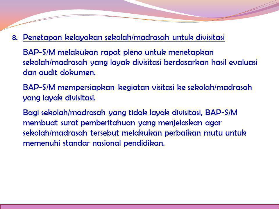 8. Penetapan kelayakan sekolah/madrasah untuk divisitasi