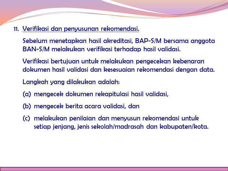 11. Verifikasi dan penyusunan rekomendasi.