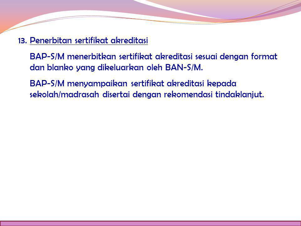 13. Penerbitan sertifikat akreditasi