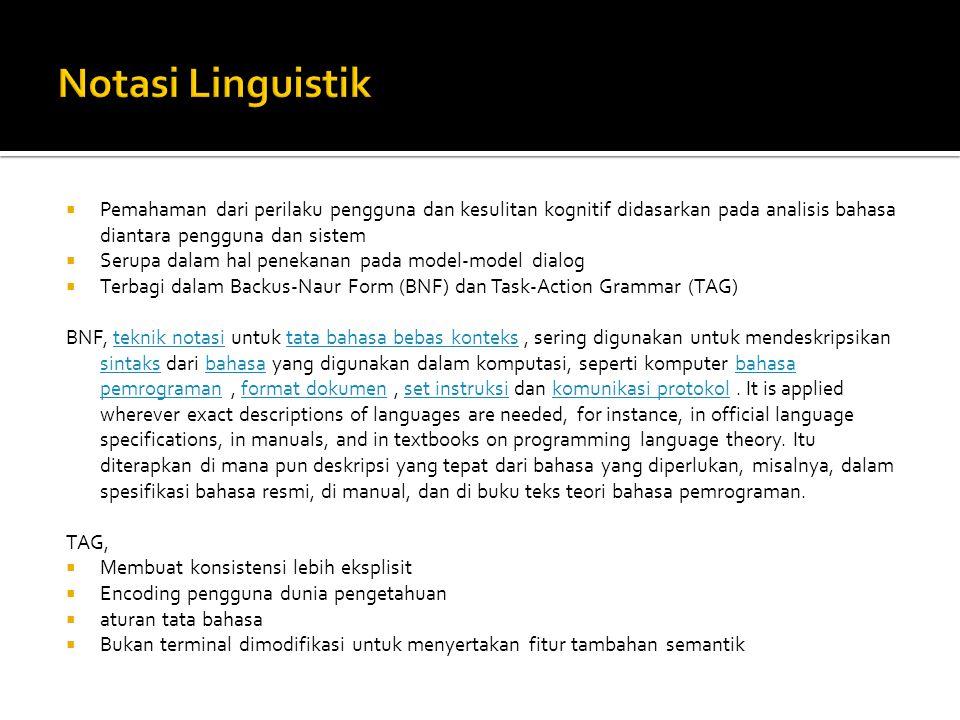 Notasi Linguistik Pemahaman dari perilaku pengguna dan kesulitan kognitif didasarkan pada analisis bahasa diantara pengguna dan sistem.