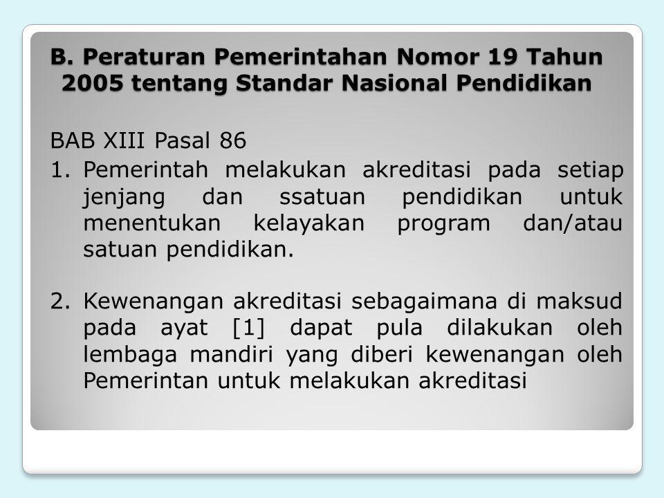 B. Peraturan Pemerintahan Nomor 19 Tahun 2005 tentang Standar Nasional Pendidikan