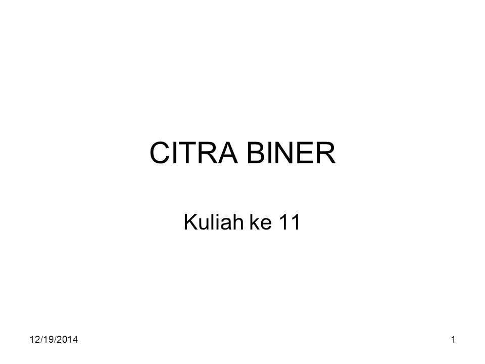 CITRA BINER Kuliah ke 11 4/7/2017
