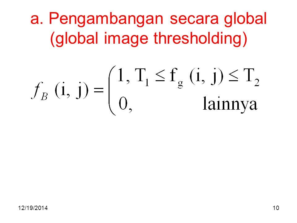 a. Pengambangan secara global (global image thresholding)