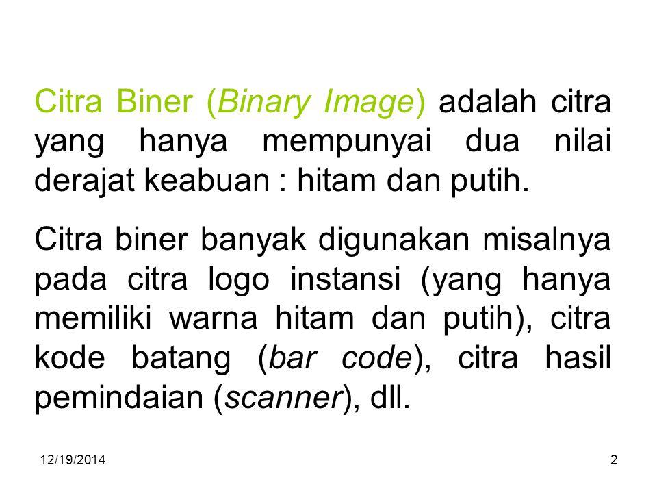 Citra Biner (Binary Image) adalah citra yang hanya mempunyai dua nilai derajat keabuan : hitam dan putih.