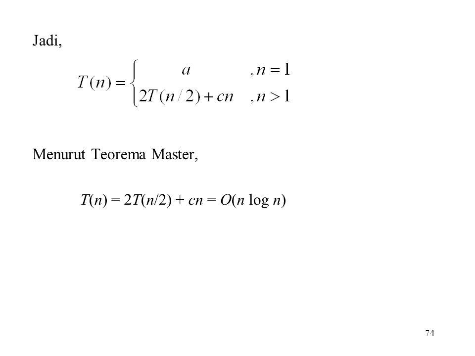 Jadi, Menurut Teorema Master, T(n) = 2T(n/2) + cn = O(n log n)