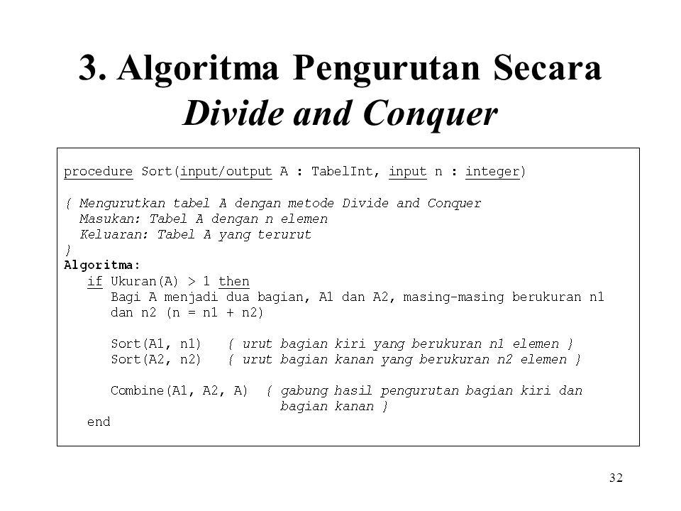 3. Algoritma Pengurutan Secara Divide and Conquer