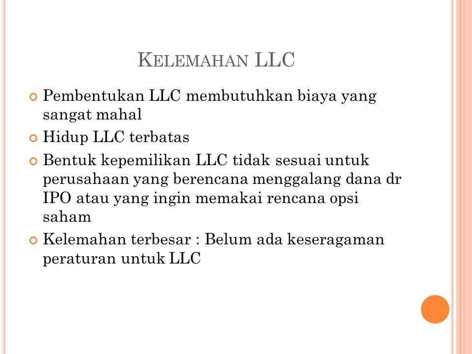 Kelemahan LLC Pembentukan LLC membutuhkan biaya yang sangat mahal