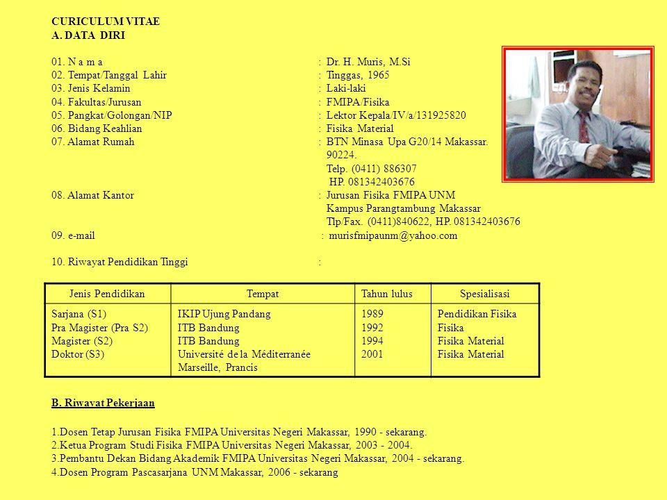 CURICULUM VITAE A. DATA DIRI. 01. N a m a : Dr. H. Muris, M.Si. 02. Tempat/Tanggal Lahir : Tinggas, 1965.