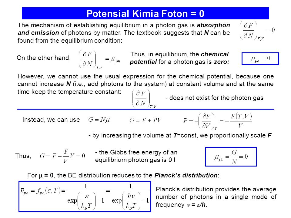 Potensial Kimia Foton = 0