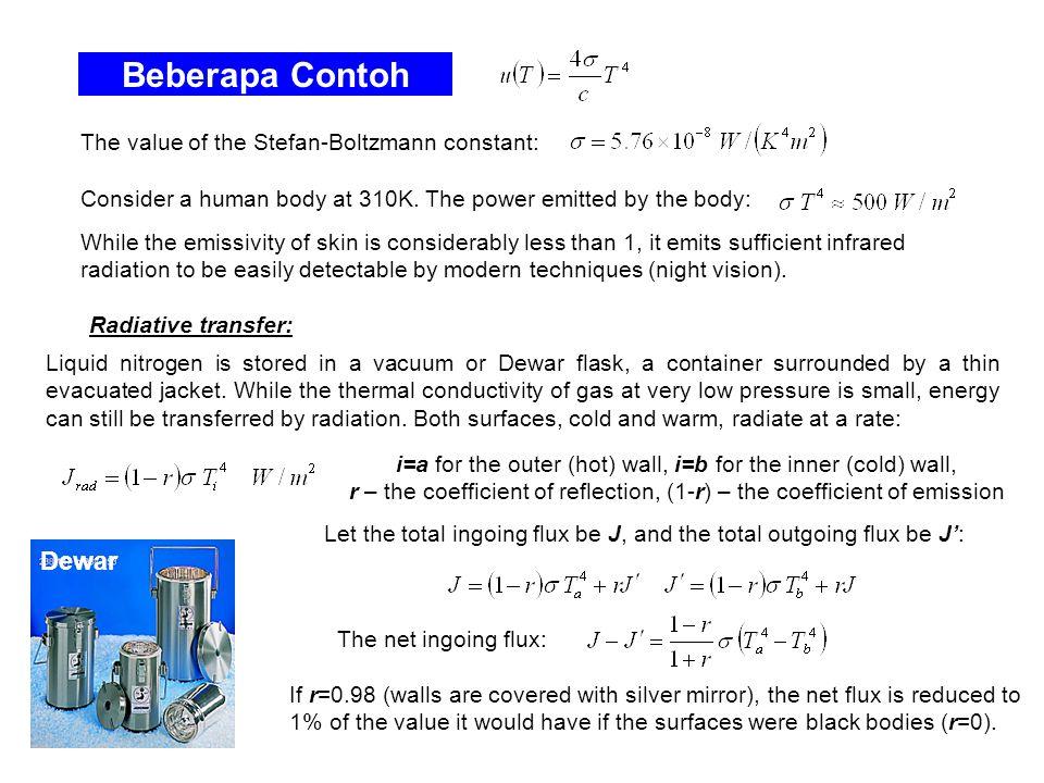 Beberapa Contoh Dewar The value of the Stefan-Boltzmann constant: