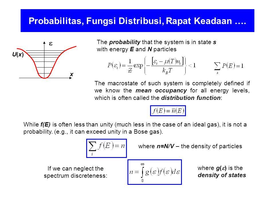 Probabilitas, Fungsi Distribusi, Rapat Keadaan ….