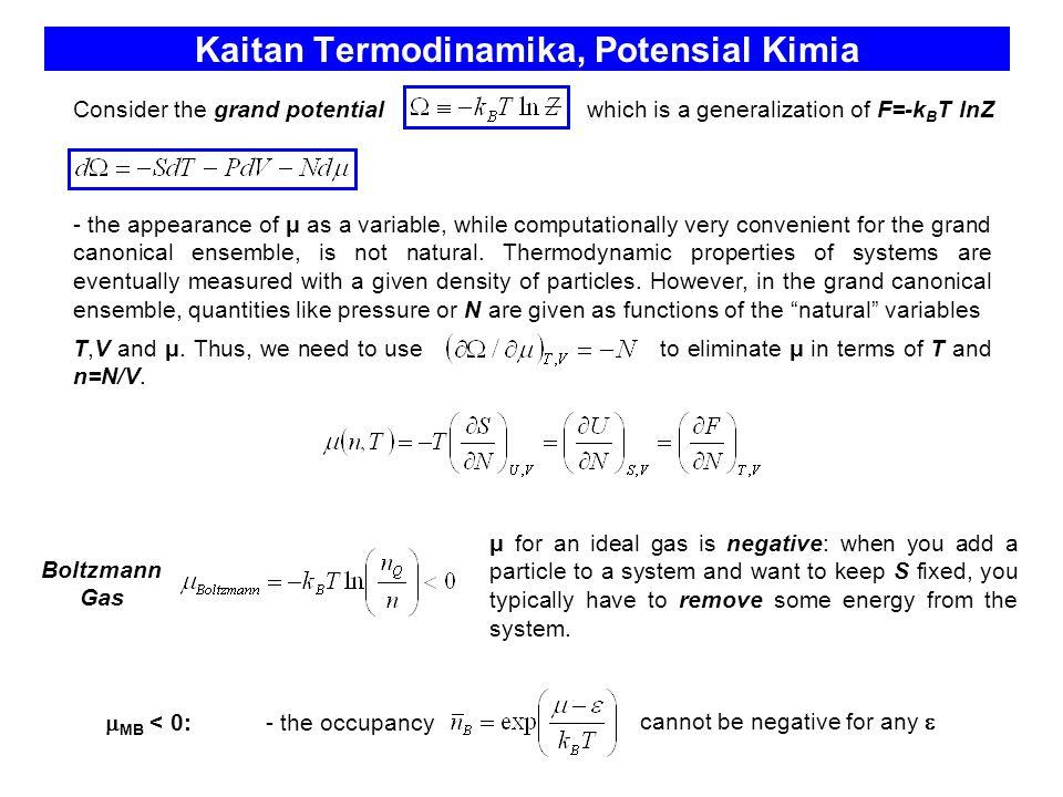 Kaitan Termodinamika, Potensial Kimia