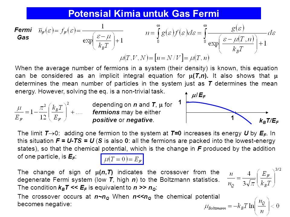 Potensial Kimia untuk Gas Fermi