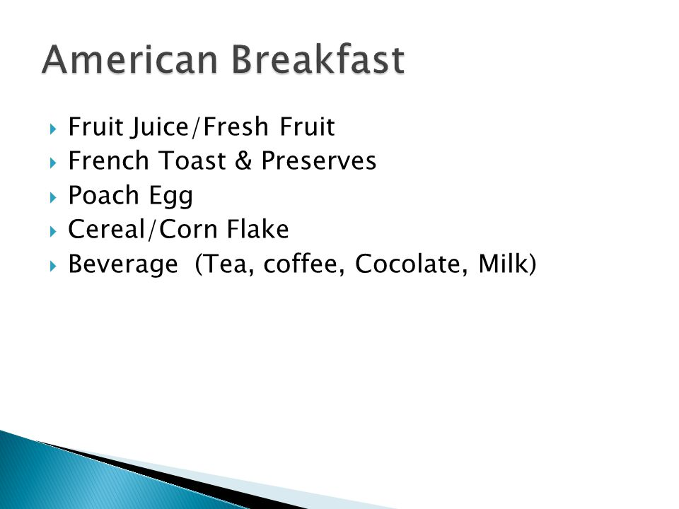 American Breakfast Fruit Juice/Fresh Fruit French Toast & Preserves