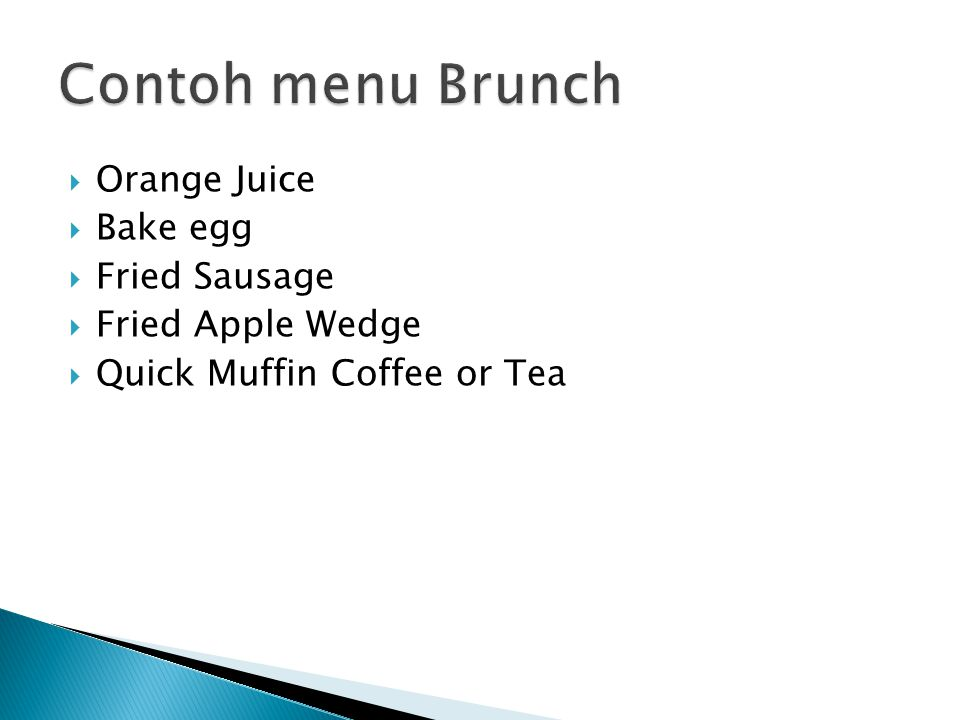 Contoh menu Brunch Orange Juice Bake egg Fried Sausage