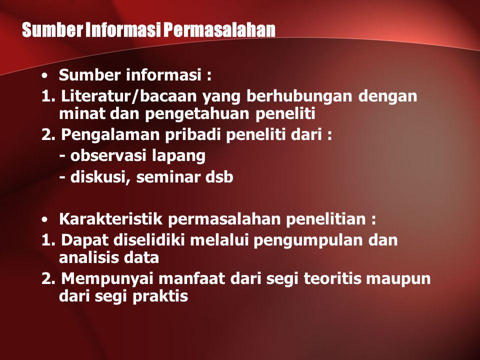 Sumber Informasi Permasalahan