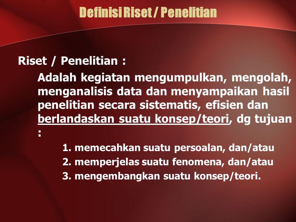 Definisi Riset / Penelitian