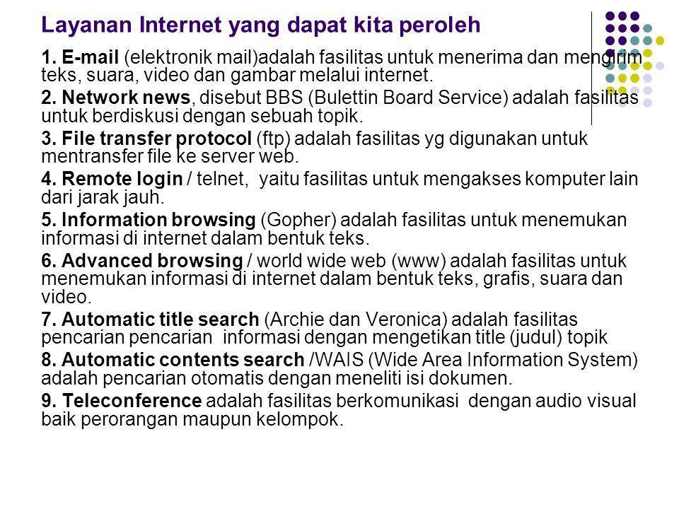 Layanan Internet yang dapat kita peroleh