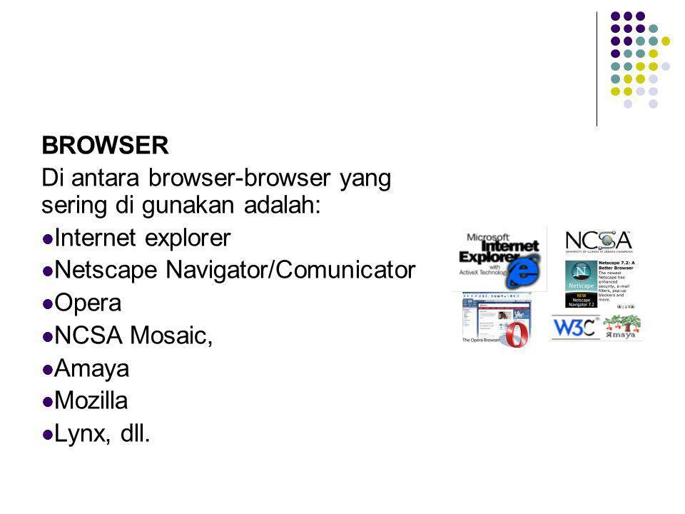 BROWSER Di antara browser-browser yang sering di gunakan adalah: Internet explorer. Netscape Navigator/Comunicator.