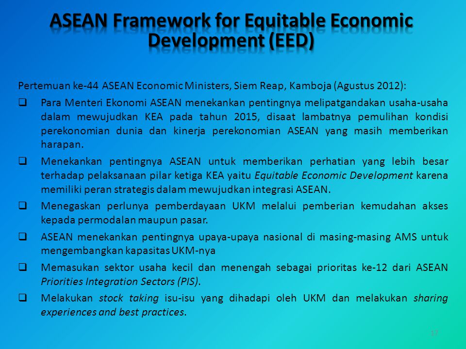 ASEAN Framework for Equitable Economic Development (EED)