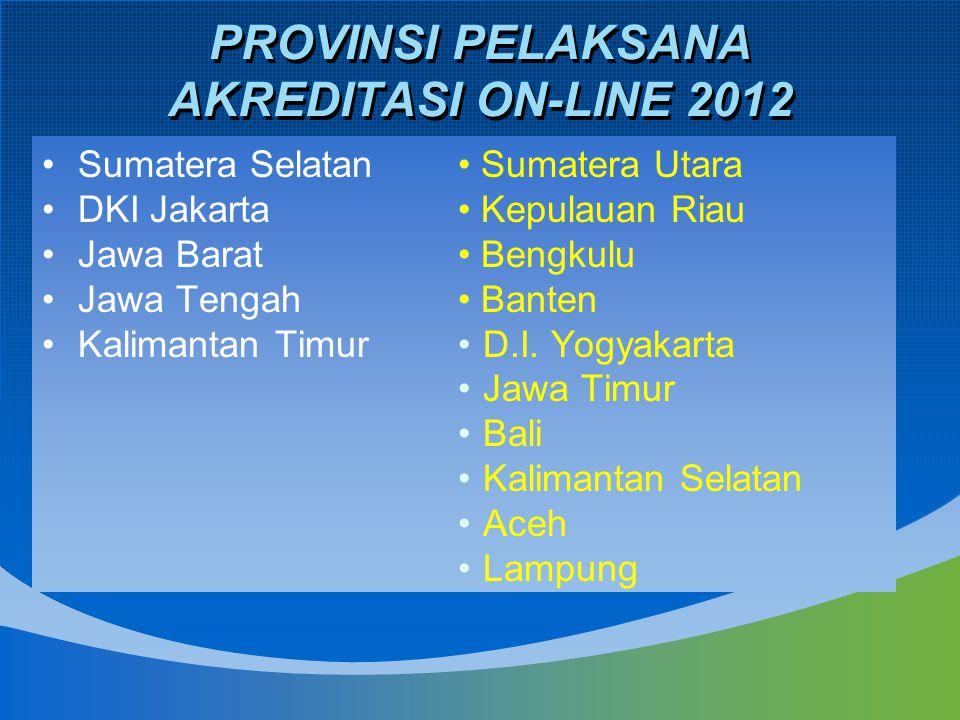 PROVINSI PELAKSANA AKREDITASI ON-LINE 2012