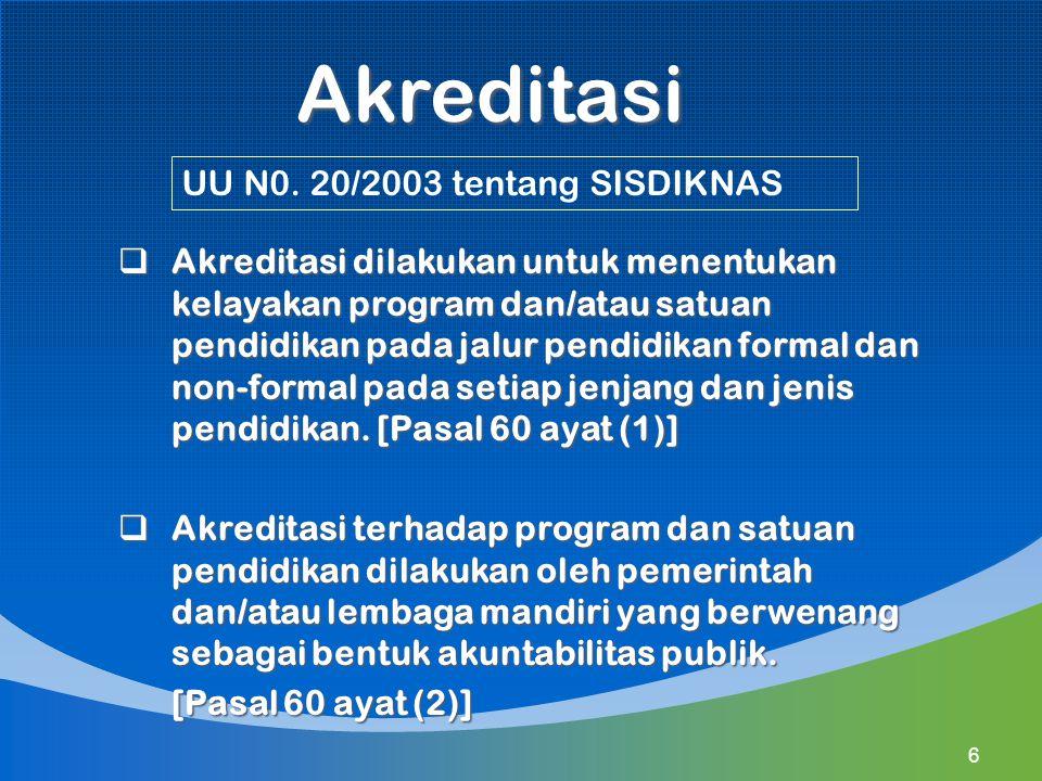 Akreditasi UU N0. 20/2003 tentang SISDIKNAS