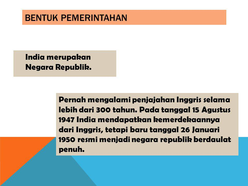 Bentuk Pemerintahan India merupakan Negara Republik.