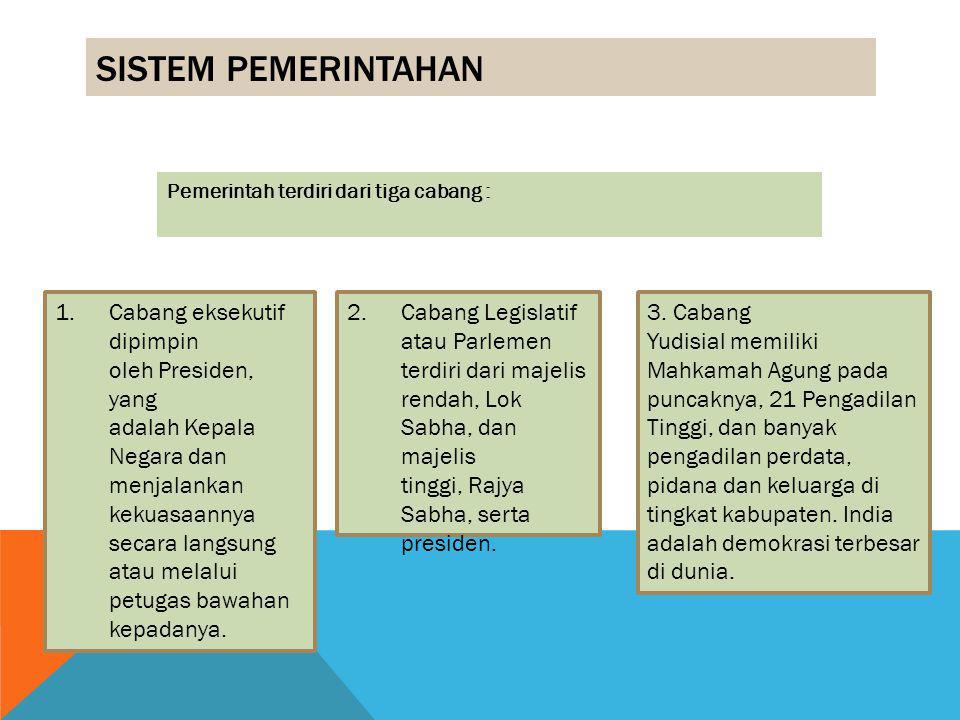 Sistem Pemerintahan Pemerintah terdiri dari tiga cabang :