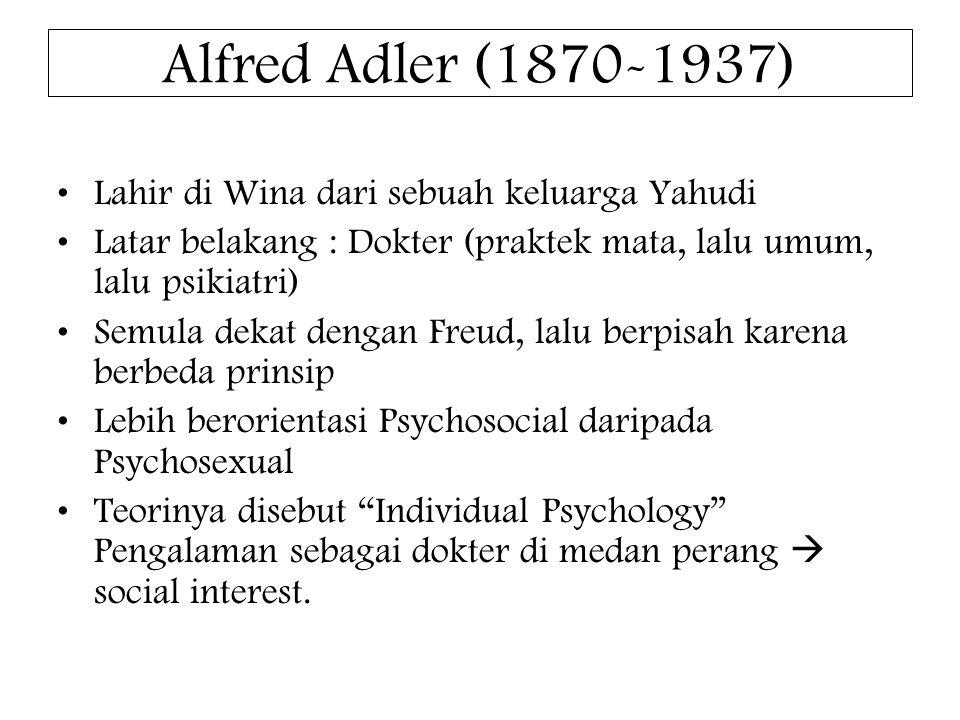 Alfred Adler (1870-1937) Lahir di Wina dari sebuah keluarga Yahudi
