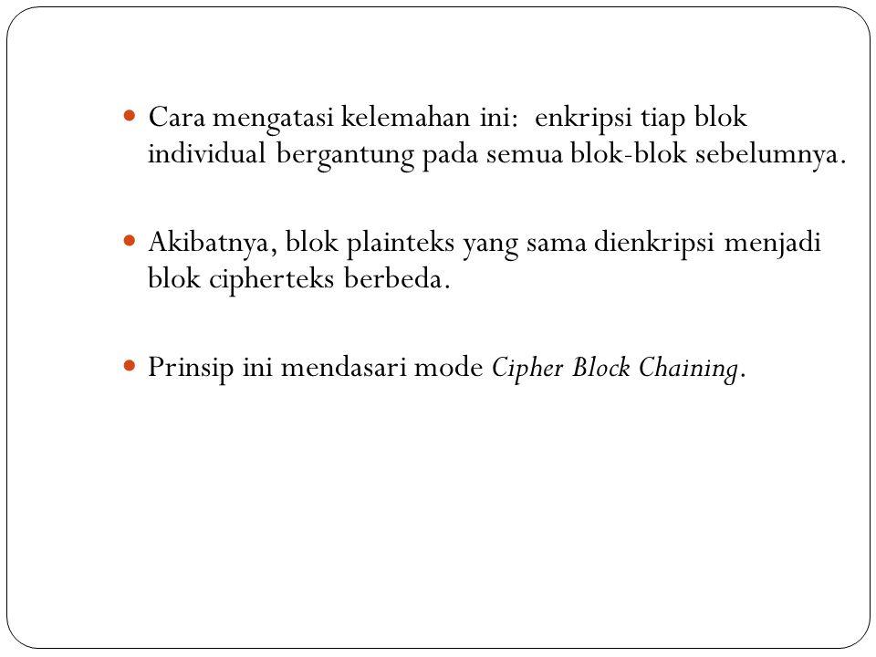 Cara mengatasi kelemahan ini: enkripsi tiap blok individual bergantung pada semua blok-blok sebelumnya.