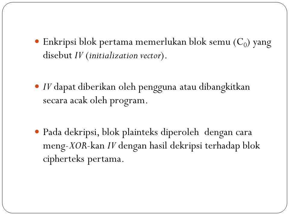 Enkripsi blok pertama memerlukan blok semu (C0) yang disebut IV (initialization vector).