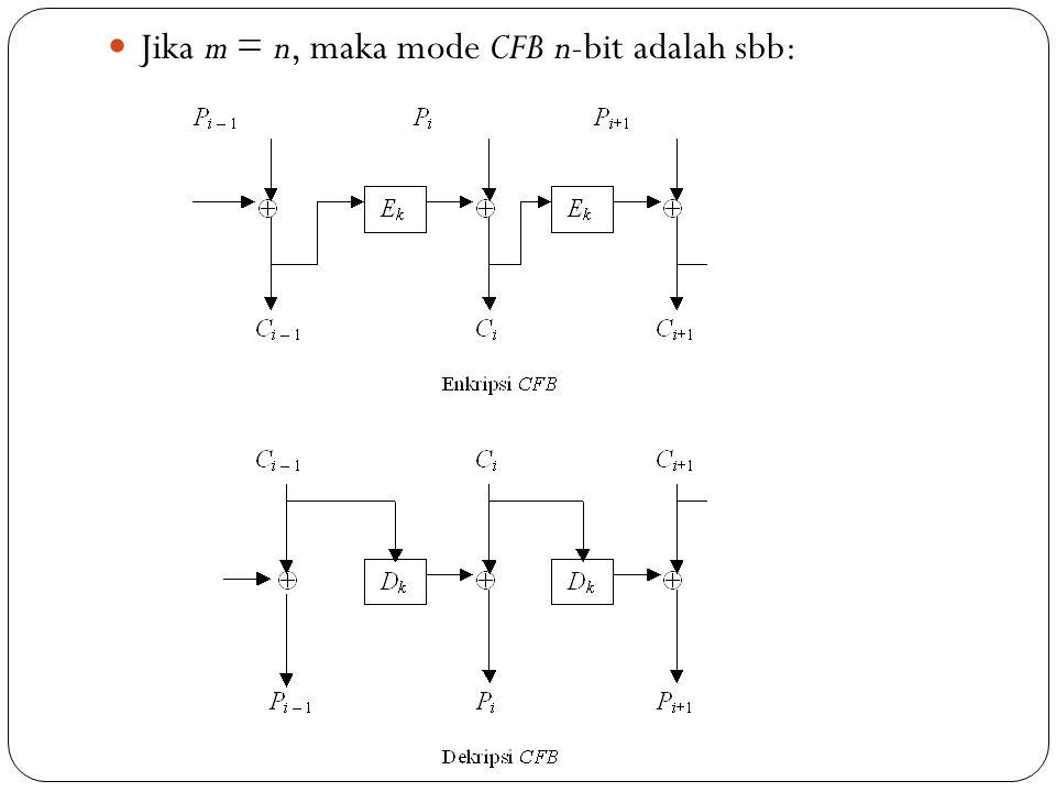 Jika m = n, maka mode CFB n-bit adalah sbb: