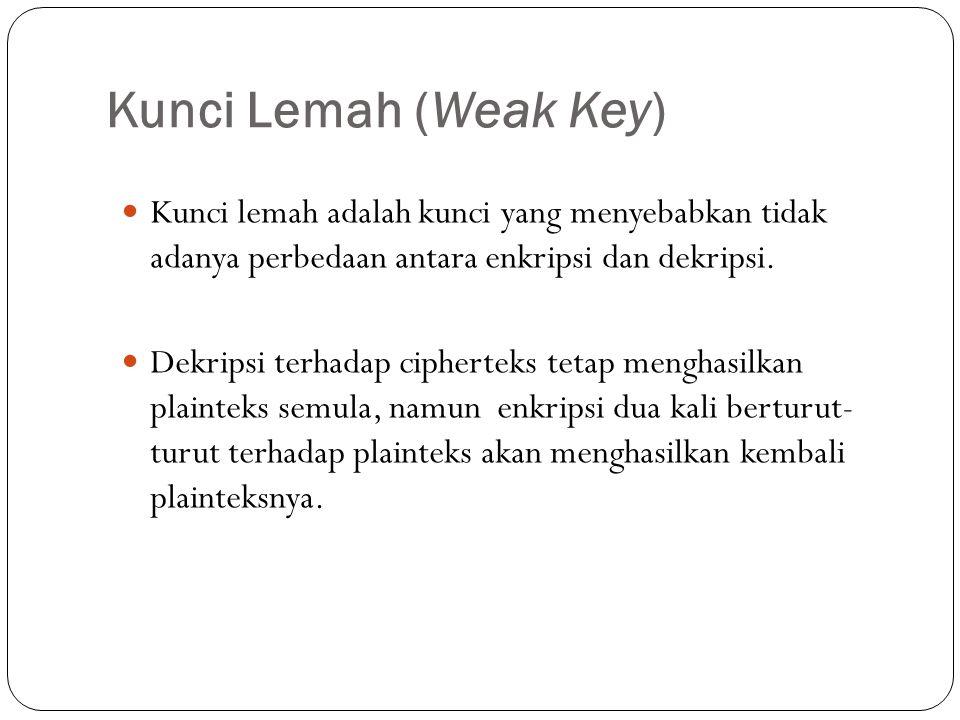 Kunci Lemah (Weak Key) Kunci lemah adalah kunci yang menyebabkan tidak adanya perbedaan antara enkripsi dan dekripsi.