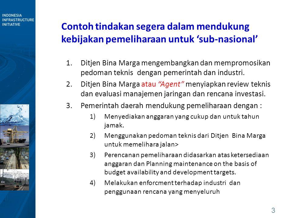 Contoh tindakan segera dalam mendukung kebijakan pemeliharaan untuk 'sub-nasional'