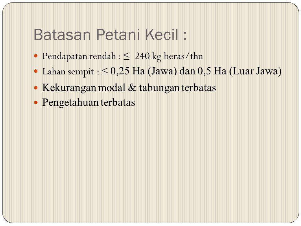 Batasan Petani Kecil : Pendapatan rendah : ≤ 240 kg beras/thn