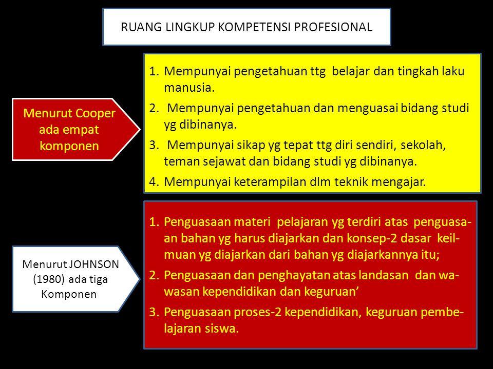RUANG LINGKUP KOMPETENSI PROFESIONAL