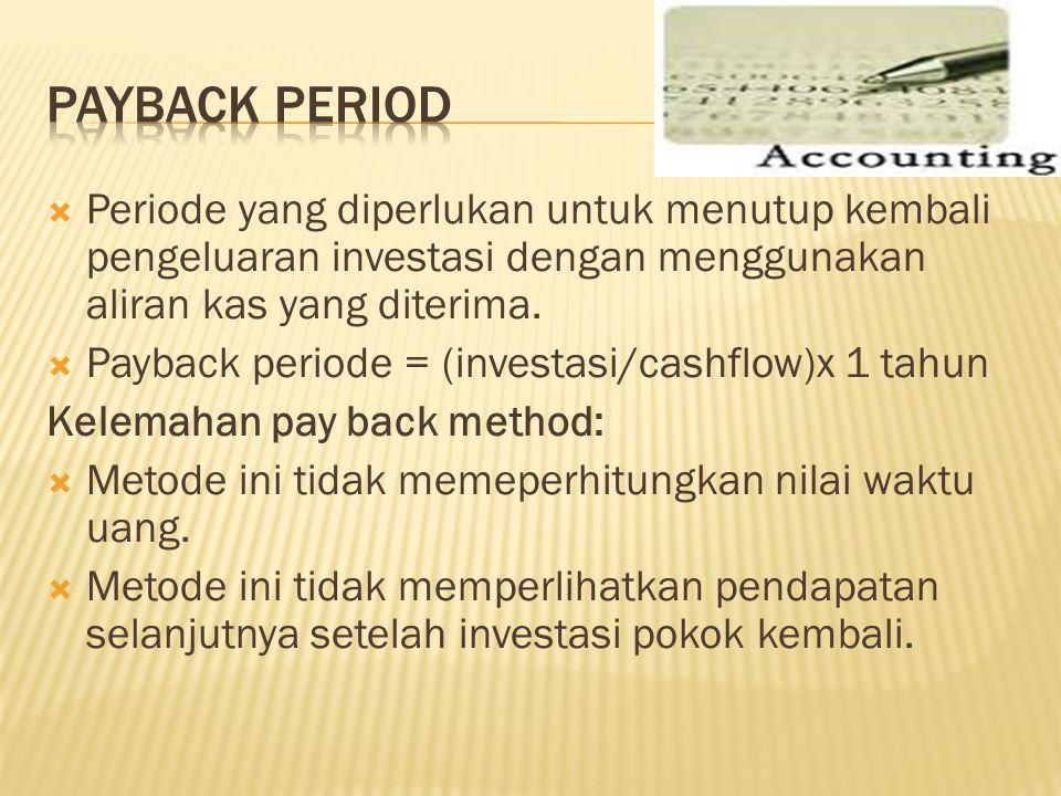 Payback period Periode yang diperlukan untuk menutup kembali pengeluaran investasi dengan menggunakan aliran kas yang diterima.